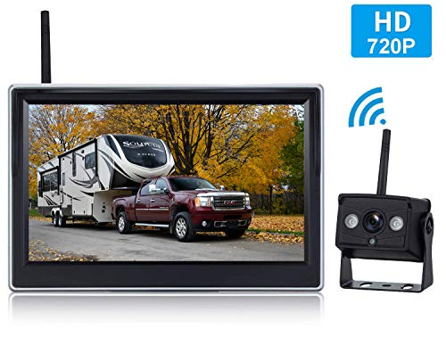 Yakry HD 720P Digital Wireless Backup Camera and 5'' Monitor Kit for Trailers/RVs/Pickups/Vans/Trucks/Motorhomes Rear View/Front View Camera IP69 Waterproof Guide Lines ON/Off