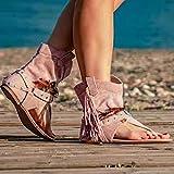 DZQQ Zapatos Casuales para Mujer, Sandalias de Gladiador Romanas con borlas para Mujer, 2021, Botas...