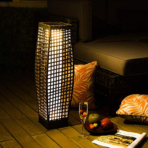 Grand Patio Outdoor Floor Lamp, Large-Sized Solar Powered Rattan Light, WeatherResistant Rattan Floor Lamp for Patio, Deck and Garden