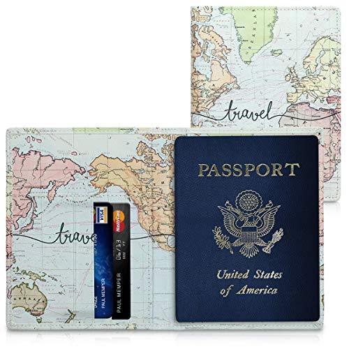 kwmobile Porta passaporto in pelle sintetica - scomparti carte foderina per passaporto in similpelle - Custodia porta documento nero/multicolore design Mappa del mondo