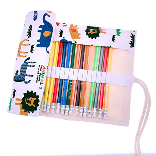 JZK Set 36 pastelli colorati matite colorate con custodia portamatite arrotolabile in tela, regalo compleanno natale per bambini e adulti