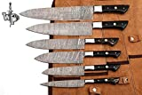 WP-1071 Custom Handmade Damascus Kitchen/Chef Knife Set 6/Piece Pocket Case Chef Knife Roll Bag By World Points(Horn)