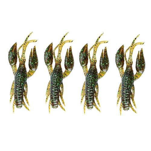 Tbest Esche Soft Crawfish, 4pcs Artificiali Esche da Pesca Esca gambero Morsetto Granchio gamberetti Craw Chunk Esca per Carpa Bass Fishing Acqua Dolce Acqua salata.(Dark Green)