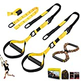 NMVB Bodyweight Resistance Training Straps, Complete Home Gym Fitness Trainer kit for Full-Body Workout, Included Door Anchor, Extension Strap, 16 Week Program, Fitness Guide