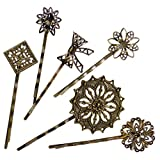 6 Retro Vintage Metal Hair Pin Bobby Pins Flower Bow Royal Square Bronze Accessories Women Girls