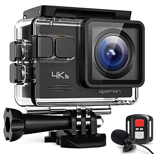 APEMAN Action Cam A79 PRO, 4K 20MP WiFi Impermeabile 40M con Telecomando e Microfono Esterno fotocamera subacquea digitale, Anti-Shaking Stabilizzazione Webcam, Time Lapse Slow Motion Videocamera