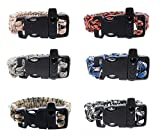 FROG SAC Paracord Bracelets with Emergency Whistle Buckles 6 PCs Pack - Survival Buckle Bracelet Set for Camping, Hiking Accessories - Great Party Favors (Camo)