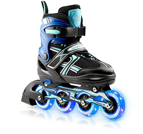 XinoSports Kids Inline Skates for Girls & Boys - Adjustable Roller Blades with LED Illuminating Light Up Wheels - Youth Skates Can Be Used Indoors & Outdoors