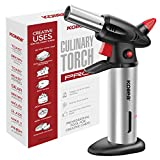 Culinary Torch, Kollea Butane Kitchen Torch Refillable Cooking Torch with Safety Lock, Fuel Gauge, Finger Guard - Adjustable Strong Flame [MAX 2500℉] - Gas Not Included