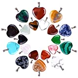 Outus 20 Pieces Heart Shape Stone Pendants Chakra Beads DIY Crystal Charms, 2...