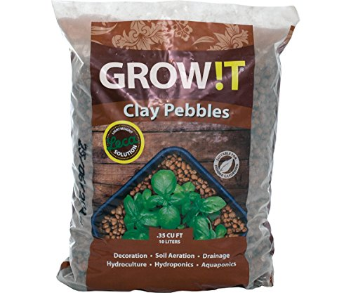 Hydrofarm GMC10L GROWT Clay Pebbles, 10 Liter Bag, Brown