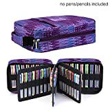 Pencil Case Holder Slot - Holds 202 Colored Pencils or 136 Gel Pens with Zipper Closure - Large Capacity Pen Organizer for Watercolor Pens or Markers - Perfect Gift for Beginner and Artist Purple