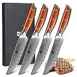 XINZUO Damaststahl 4-teilig Steakmesser Set, 12.7cm...