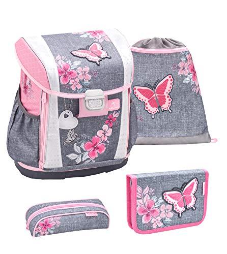 Belmil Ergonomischer Schulranzen Set 4 - teilig Größen verstellbar Mädchen 1. 2. 3. 4. klasse - gepolsterter Hüftgurt und Brustgurt/Schmetterling, Butterfly/Grau Pink, Grey Pink (404-20 Elegant)
