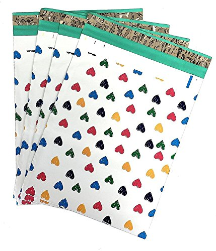 6x9 (100) Colorful Hearts Designer Poly Mailers Shipping Envelopes Boutique Custom Bags by ValueMailers (6' x 9')