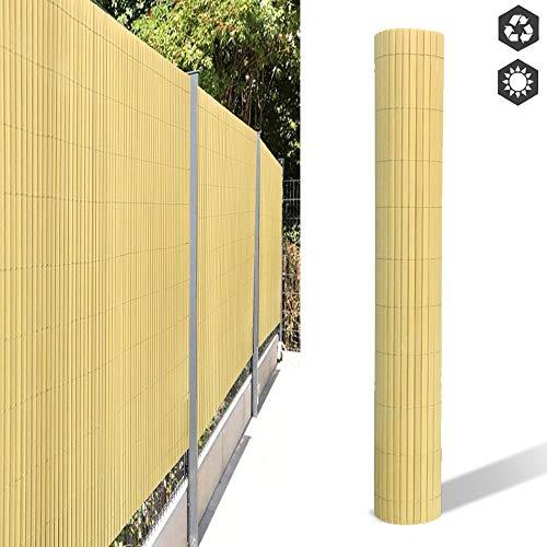 Aufun PVC Sichtschutzmatte, Sichtschutzzaun Sichtschutz Windschutz Gartenzaun für Garten Balkon Terrasse Außenbereich Swimming Pools - 180x300cm Bambus