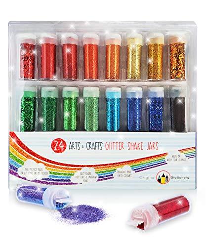 Set di glitter in colori assortiti - per hobbistica, trucco, nail art - diverse grandezze - super brillanti - 24 pezzi