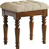 Kelendle Wood Vanity Stool Chair Piano Stool Makeup Dressing Stool Padded Bench Upholstered Footrest Modern Foot Stool Change Shoes Stool, Brwon
