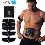 ABZERK Abs Stimulator, Rechargeable Portable Gym Exercise Equipment for Men Women - EMS Muscle Ab Stimulator for Home Workout, Abs, Arms, Legs, Thigh, Chest