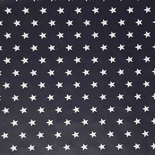 Sugarapple Beschichteter Baumwoll Stoff, wasserdicht, wasserabweisend, Wachstuch, Meterware - Dunkelblau mit weißen Sternen