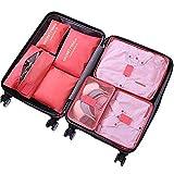 Ensemble de 7 Organisateurs de Voyage Cubes de Emballage Sac à Linge Bagages Sacs de Compression...