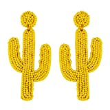 Fashion Cute DIY CACTUS Beaded Earrings for Women Girls, Festival Accessories for Halloween, Christmas and New Year Party-yellow cactus