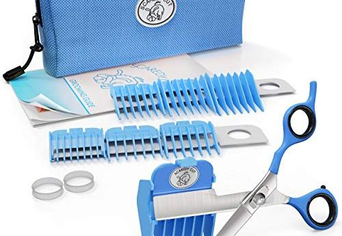 Scaredy Cut Silent Pet Grooming Kit For Cats & Dogs - Quiet Alternative to Electric Clippers For Sensitive Pets - Right-Handed, Blue