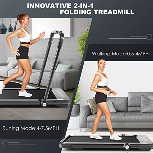 fioleken 2 in 1 Under Desk Treadmill for Home,2.25HP Electric Folding Treadmill with Bluetooth Speaker Remote Control & 12 Preset Modes,Installation-Free 2