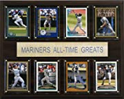 """Seattle Mariners All-Time Great Players Eight Licensed, Original Trading Cards 12"""" X 15"""" cherry wood plaque Full lens cover to protect cards Perfect for displaying in an office, rec room or bedroom"""