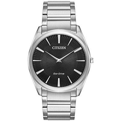 Citizen Stiletto Eco-Drive Black Dial Men's Watch, Silver-tone, Size No Size
