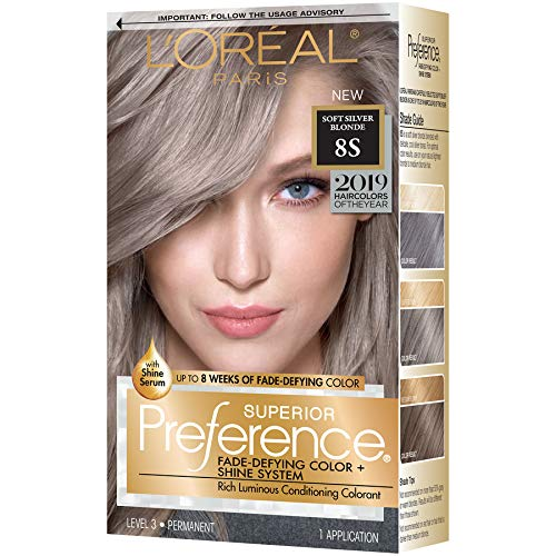 L'Oreal Paris Superior Preference Fade-Defying + Shine Permanent Hair Color, 8s Soft Silver Blonde (Pack of 1), Hair Dye