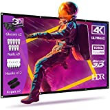 Projector Screen with 3D Glasses,120 Inch Projection Screen 4K Thickened Portable,16:9 HD...