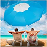 Beach Umbrella with Sand Anchor, Outdoor Portable Beach Umbrella for Sand with Adjustable Tilt Aluminum Pole,6.5ft Travel Wind Resisitance Umbrella with Carry Bag for Beach Patio Outside(Bule-white)