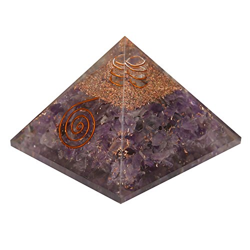 Aatm Energy Generator Amethyst Orgone Pyramid for EMF Protection Chakra Healing Meditation with Crystal and Copper (3 and 3 Inches)