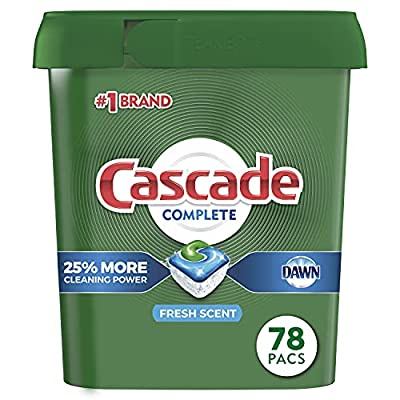 Cascade Complete ActionPacs have 25% more Cleaning Power* *% cleaning ingredients vs. Cascade Original Dissolves fast and releases the grease-fighting power of Dawn Powers away even 24-hour stuck-on messes for a complete clean Convenient, premeasured...