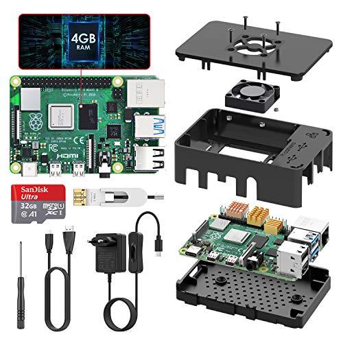 TICTID Raspberry Pi 4 Modèle B (4 B) 4Go Upgraded for Raspberry Pi 3 Starter Kit 2019 Version 32Go Classe 10 Micro SD Carte Alimentation Interrupteur Marche/Arrêt Ventilateur Boîtier Noir Dissipateur