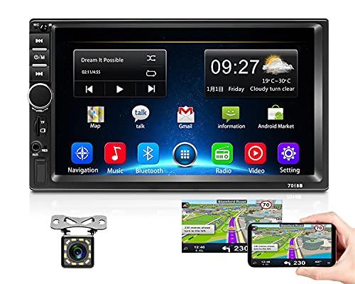 Podofo Autoradio 2 Din Android Navigation GPS de Voiture Écran Tactile 7 Pouces 1080P Quad Core Radio multimédia stéréo 2G + 32G avec Bluetooth, WiFi, USB, Lien Miroir, Radio FM + Caméra arrière