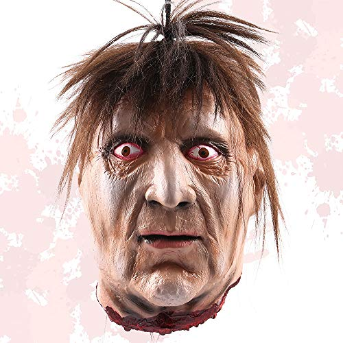 Your's Bath Halloween Props Hanging Head Life Size Screaming Horror Scary Latex Bloody Dead Man Severed Head Haunted House Halloween Decoration (#0) (Kitchen & Home)
