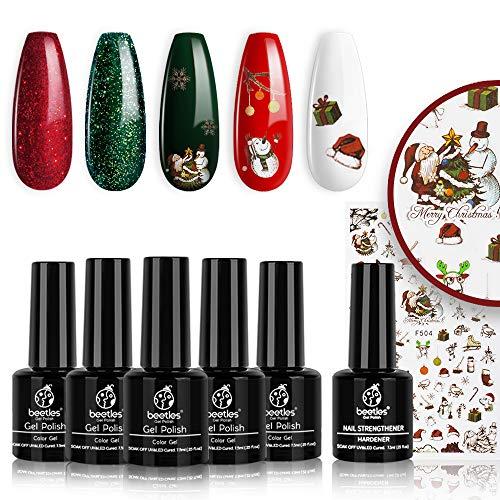 beetles Gel Nail Polish Set, Sparkle Red Green Gel Polish Kit Soak Off LED Gel Nail Kit Manicure Gift with Nail Strengthener Gel and Stickers