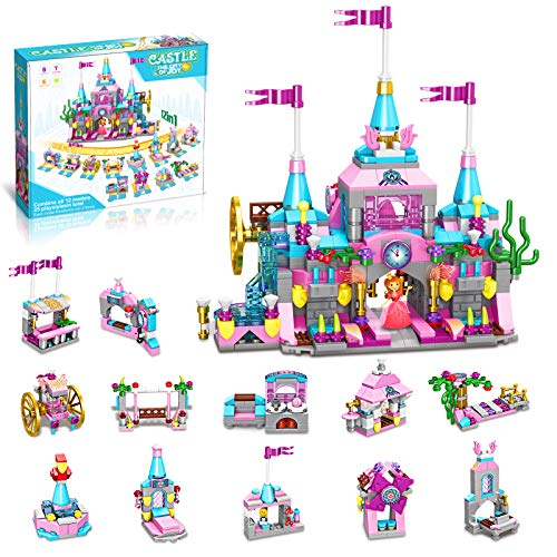 HOMOFY Girls Princess Toys , 568pcs Building Blocks Toy , 25 Models Pink Princess Castle Kit