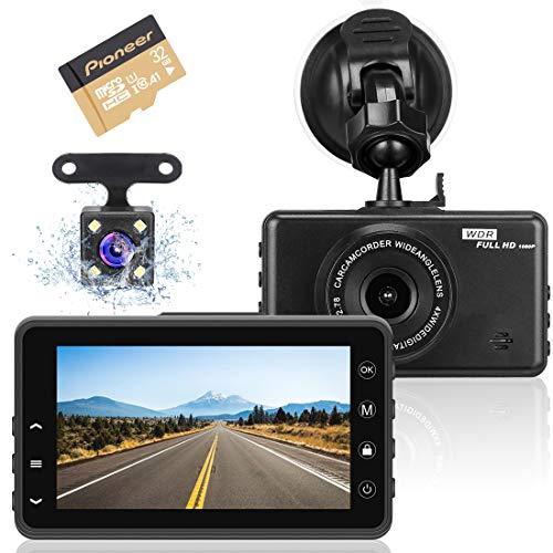 Videocamera Dashcam per auto, videoregistratore full HD 1080P con obiettivo grandangolare 170 °, sensore G, WDR, rilevamento del movimento, monitor di parcheggio