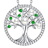 GinoMay Emerald Pearl Necklace Tree of Life May June Birthstone Jewellery Women Birthday Gifts Mum Wife Sterling Silver Mothers Day Necklace Gifts