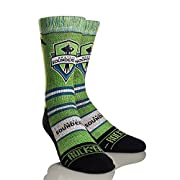 Officially licensed Major League Soccer graphic athletic crew socks by Rock 'em Show off your Sounders pride with these unique and vibrant designs inspired by the Seattle Sounders FC MLS team and the city of Seattle. Go Sounders!! Superior graphics: ...