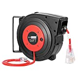 VIVOHOME Heavy Duty 50 Feet Retractable Extension Cord Reel with Ceiling Wall Mount Swivel Bracket...