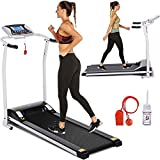 Electric Folding Treadmill for Home with LCD Monitor,Pulse Grip and Safe Key Fitness Motorized Running Jogging Walking Exercise Machine Space Saving for Home Gym Office Easy Assembly (Off White)