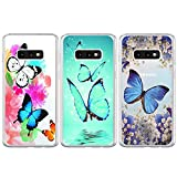 BEAULIFE Case for Samsung Galaxy S10e Painted 3Pcs Series Phone Case Cover Full Body Protective Soft Flexible TPU Case Butterfly