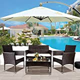 Danxee 4 PCS Patio Furniture Outdoor Garden Conversation Wicker Sofa Set All-Weather Rattan Loveseat and Arm Chairs with Tempered Glass Tabletop, Cushioned Seats for Lawn and Backyard