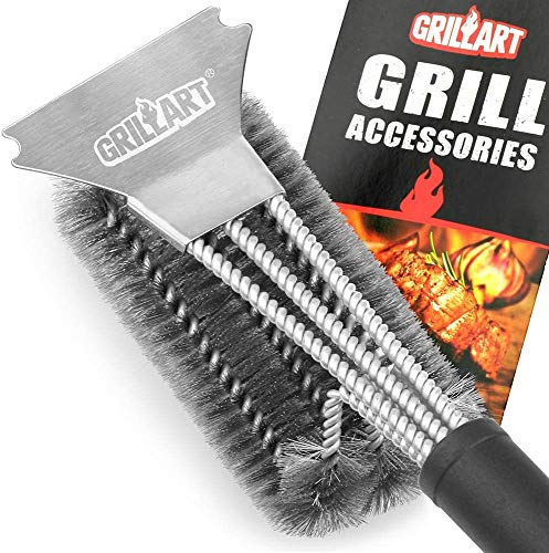 GRILLART Grill Brush and Scraper Best BBQ Brush for Grill, Safe 18' Stainless Steel Woven Wire 3 in 1 Bristles Grill Cleaning Brush