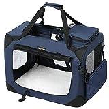 FEANDREA Gabbia Pieghevole Portatile Borsa per Cane Animale Domestico da Trasporto Macchina Viaggio Blu L 70 x 52 x 52 cm PDC70Z