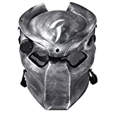 Outgeek Outdoor CS Games Costume Mask Ventilate Protective Face Mask with Infrared Lamp for Masquerade Cosplay (Silver Black)